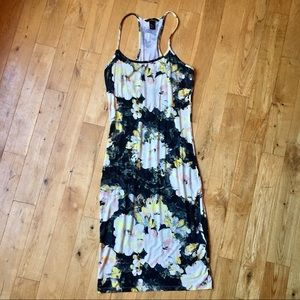 H&M Floral Bodycon Midi Racerback Dress Size Med
